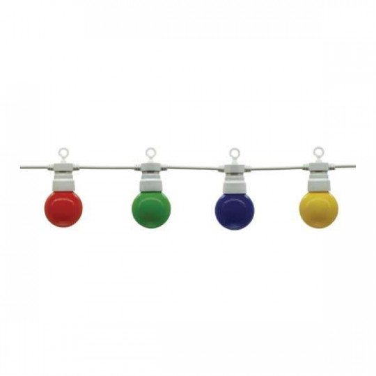 Guirlande Guinguette 10 Ampoules LED Colorées 8m Fil Blanc