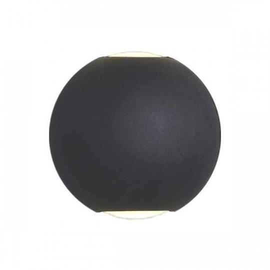 Applique LED murale 6W Rond étanche IP54 Noir - Blanc Chaud 3000K