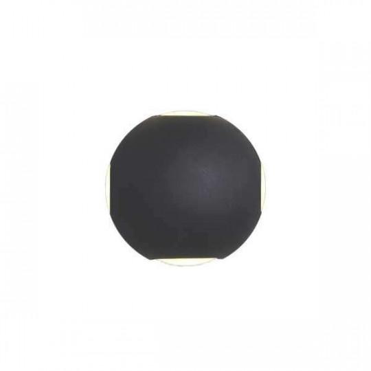 Applique LED murale 4W Rond étanche IP54 Noir - Blanc Chaud 3000K