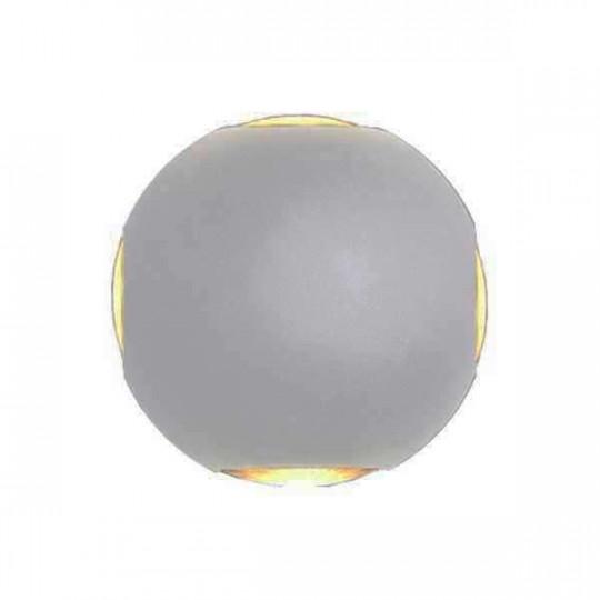 Applique LED murale 4W Rond étanche IP54 Gris - Blanc Chaud 3000K