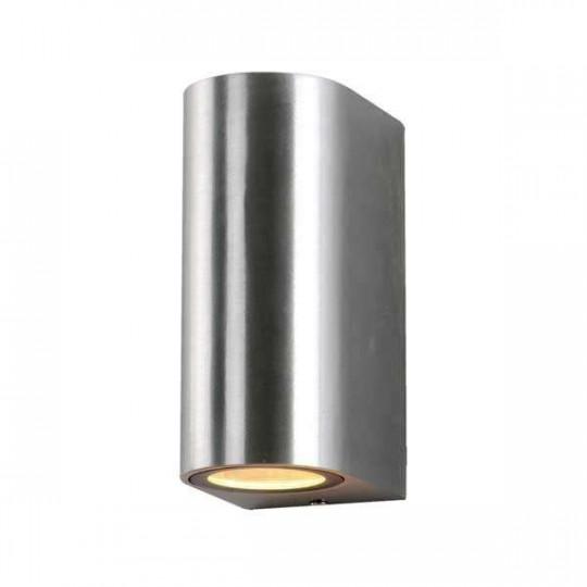 Applique LED murale pour 2 ampoules GU10 étanche IP54 Métal brossé