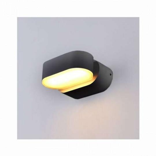 Applique LED murale 6W étanche IP54 Noir - Blanc Chaud 3000K
