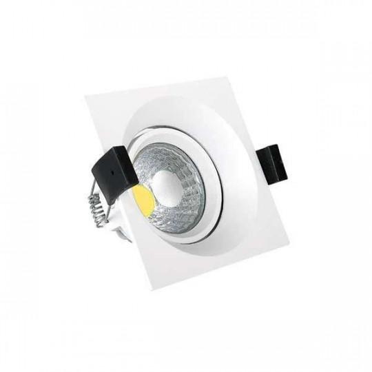 Downlight LED 8W carré Inox - Blanc Chaud 2700K