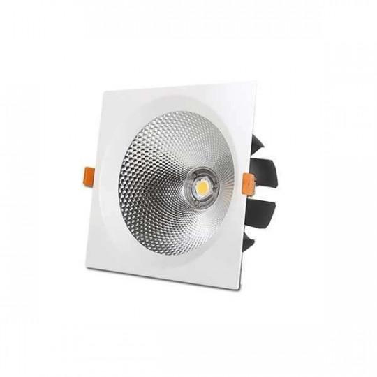 Downlight LED 15W carré Blanc - Blanc Naturel 4500K