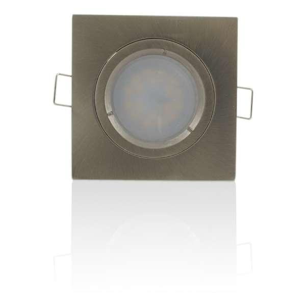 Support spot encastrable carré orientable Aluminium brossé