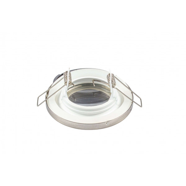 Support de spot étanche IP65 - rond aluminium brossé