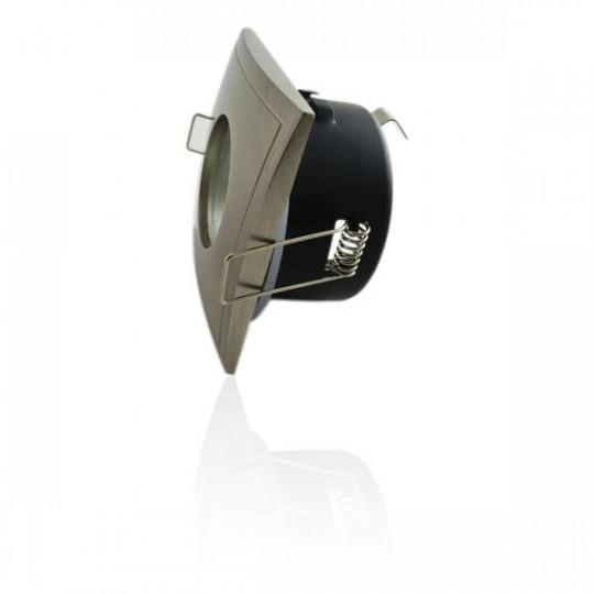 Support de spot étanche IP65 - carré aluminium brossé Douille-Sans douille Forme-Carré Couleur-Aluminium brossé