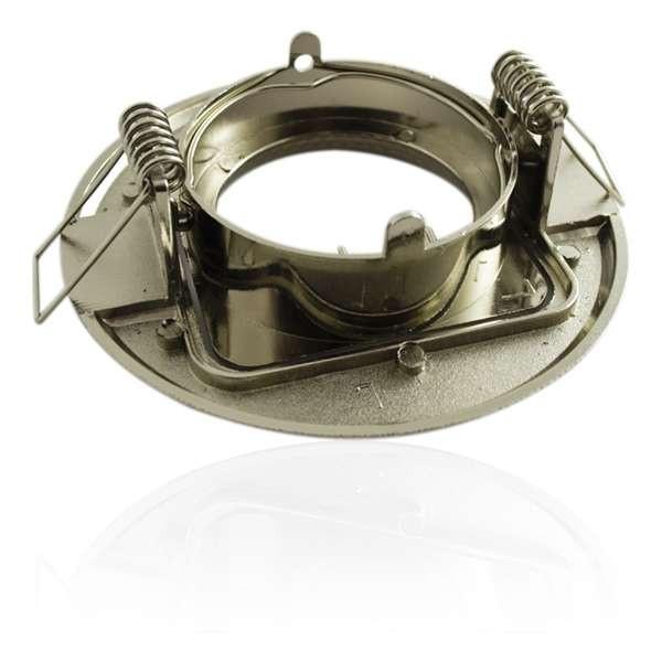 Support de spot encastrable rond orientable aluminium brossé