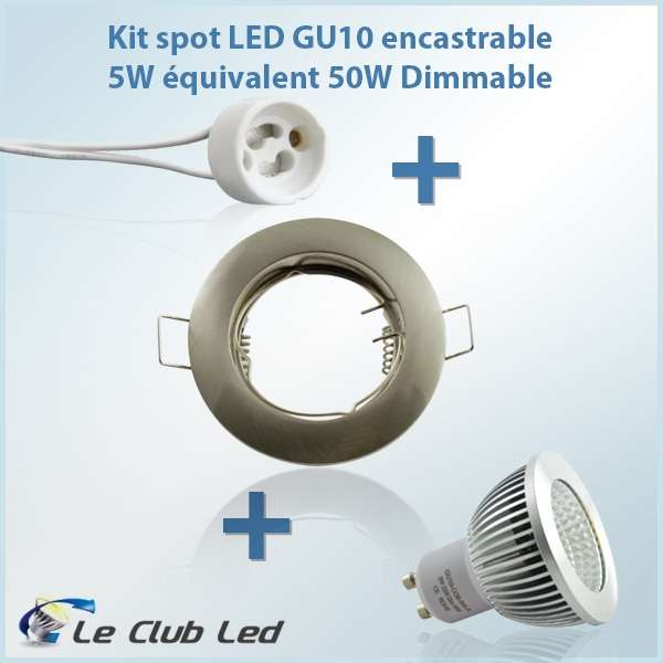kit spot led gu10 5w rond encastrable dimmable. Black Bedroom Furniture Sets. Home Design Ideas