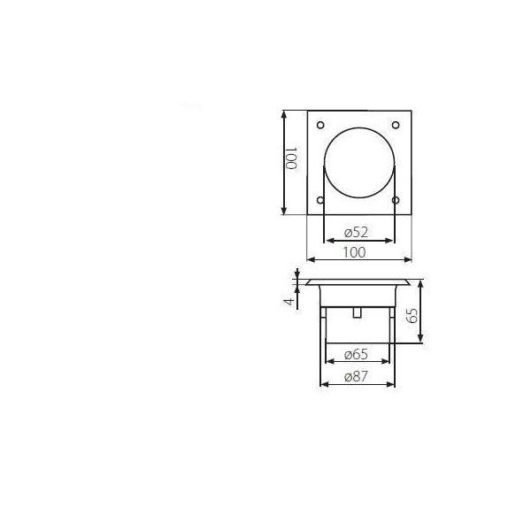 Borne LED encastrable sol 0,7W  étanche carrée