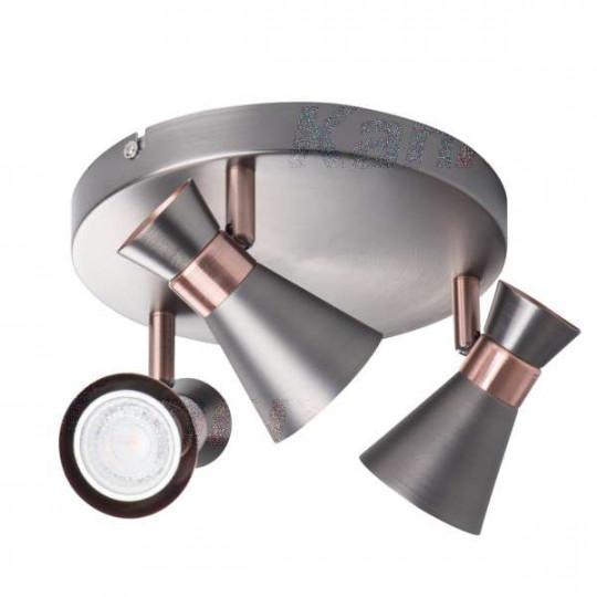 Applique saillie, mural pour 3 ampoules GU10 - Argent / cuivre