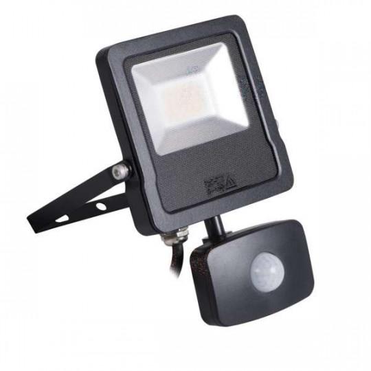 Projecteur LED à Détecteur 20W Noir étanche IP44 1600lm (160W) - Blanc Naturel 4000K