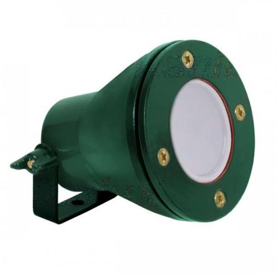 Potelet à fixer au sol pour 1 ampoule Gx5,3 étanche IP68 Vert - Blanc Chaud 3000K