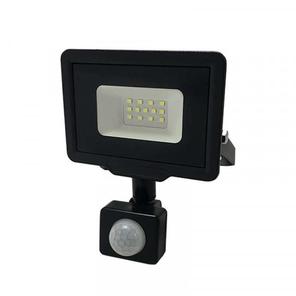 Projecteur LED Noir 10W à Détecteur IP65 800lm - Blanc Chaud 2700K
