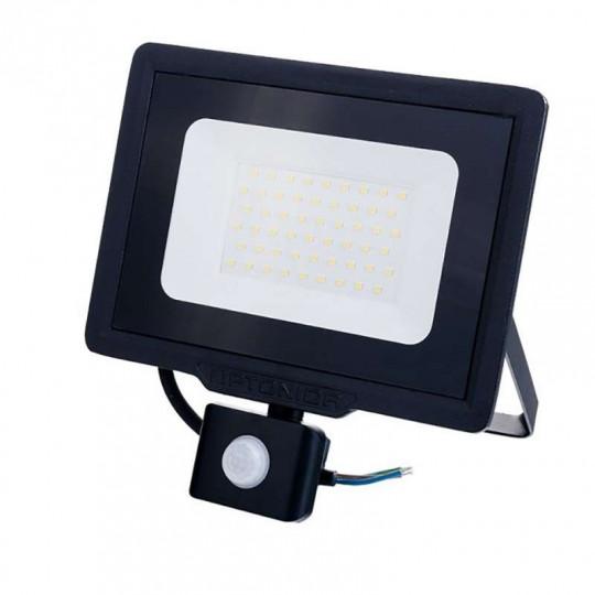 Projecteur LED Noir 50W (250W) à Détecteur IP65 4000lm - Blanc Naturel 4500K
