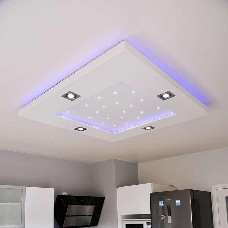 Plafonnier carré rubans et spots LED...