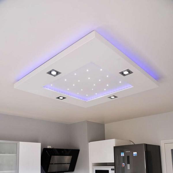 Plafonnier carré rubans et spots LED RGB+CCT 86x86cm avec télécommande
