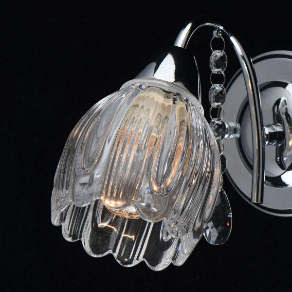 Flora  chrome metal chromé verre transparent  1*40W E14  294027001