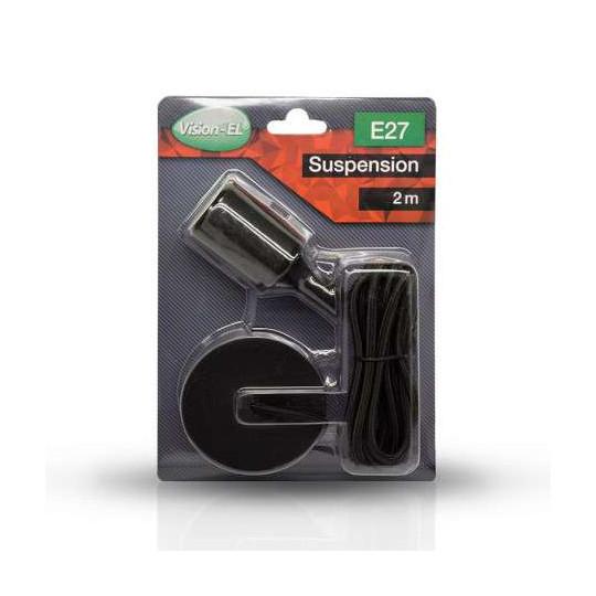 Suspension Noire avec douille E27 avec câble 2m Noir