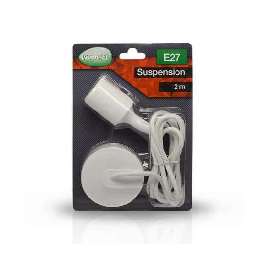 Suspension Blanche avec douille E27 avec câble 2m Blanc