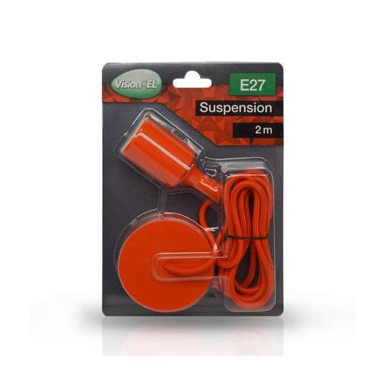 Suspension Rouge Douille E27 avec Câble 2m