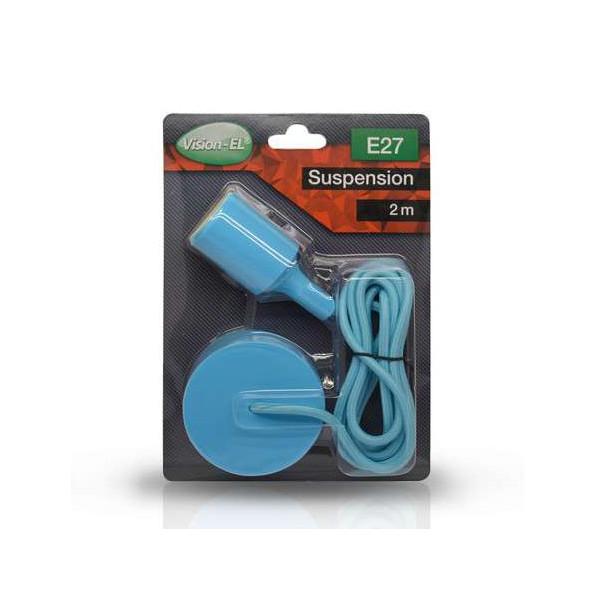 Suspension Noire avec douille E27 avec câble 2m Bleu
