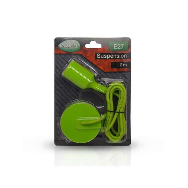 Suspension Noire avec douille E27 avec câble 2m Vert