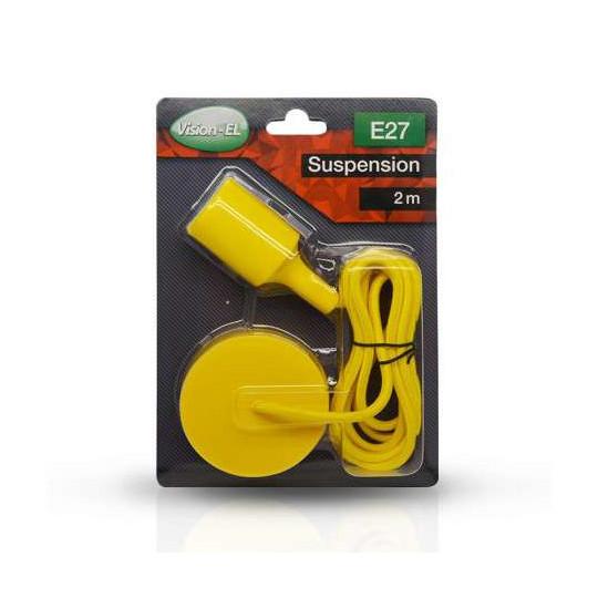Suspension Noire avec douille E27 avec câble 2m Jaune