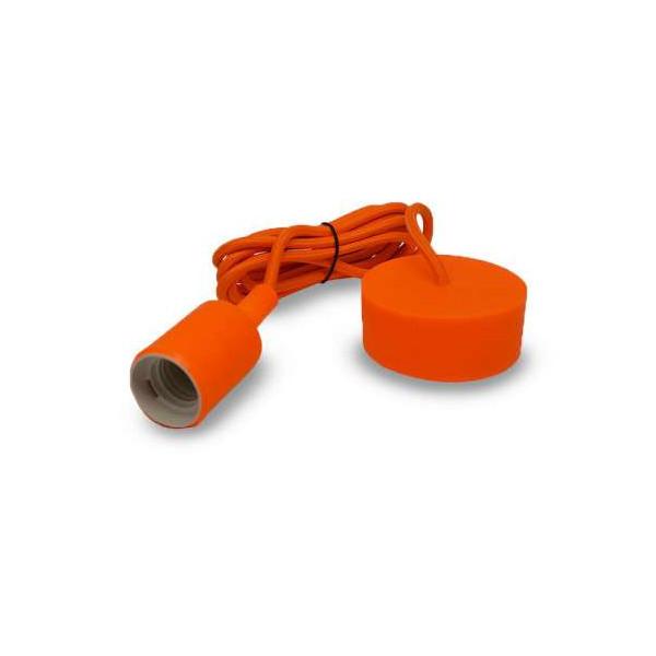 Suspension Noire avec douille E27 avec câble 2m Orange
