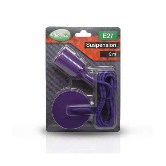 Suspension Noire avec douille E27 avec câble 2m Violet