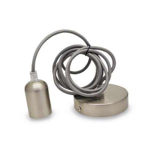 Suspension métal douille E27 Nickel Brossé Mat avec câble 2m
