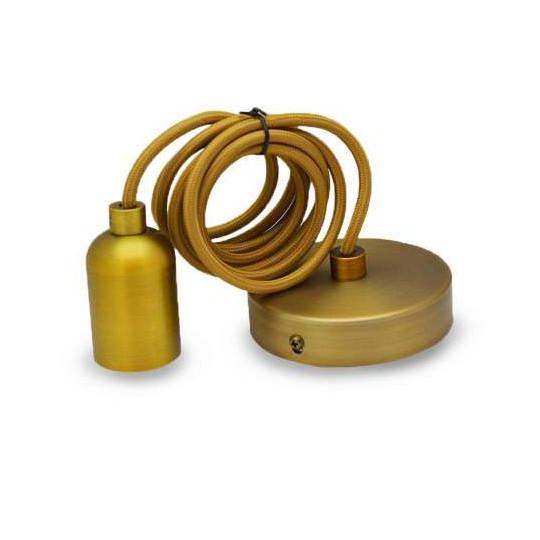 Suspension métal douille E27 Bronze Marron Mat avec câble 2m