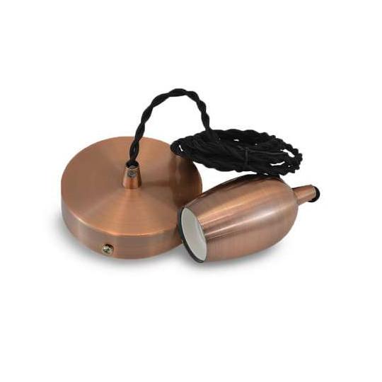 Suspension métal douille Cloche E27 cuivre Rouge avec câble 2m