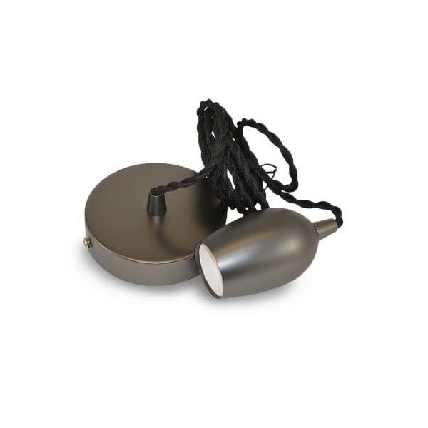 Suspension métal douille Cloche E27 Perle Noir Mat avec câble 2m