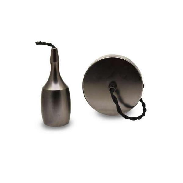 Suspension métal douille Cloche allongée E27 Mat Perle Noir avec câble 2m