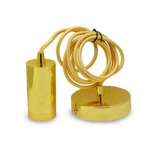 Suspension Métal Cylindrique E27 Or avec câble 2m