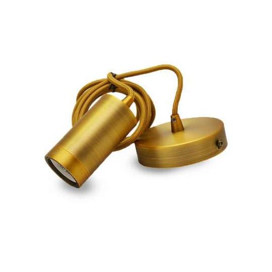 Suspension Métal Cylindrique E27 Mat Marron Bronze avec câble 2m