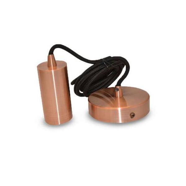 Suspension Métal Cylindrique E27 Cuivre avec câble 2m