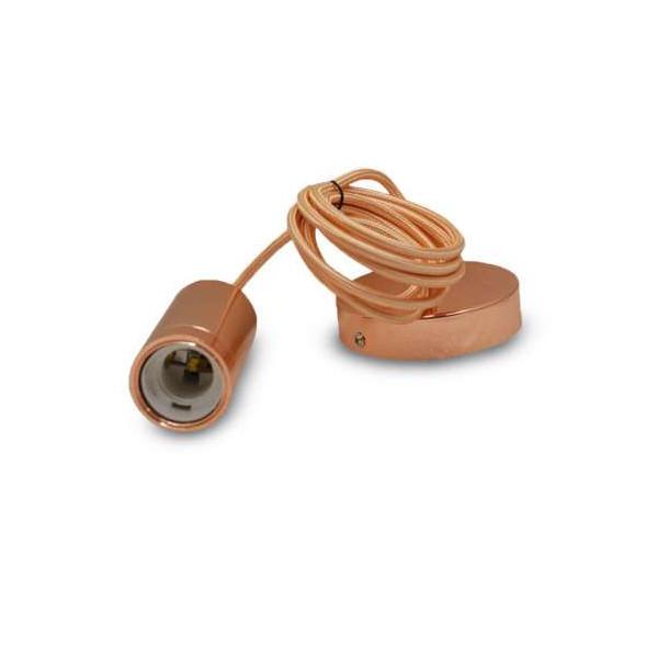 Suspension Métal Cylindrique E27 Or Rose avec câble 2m