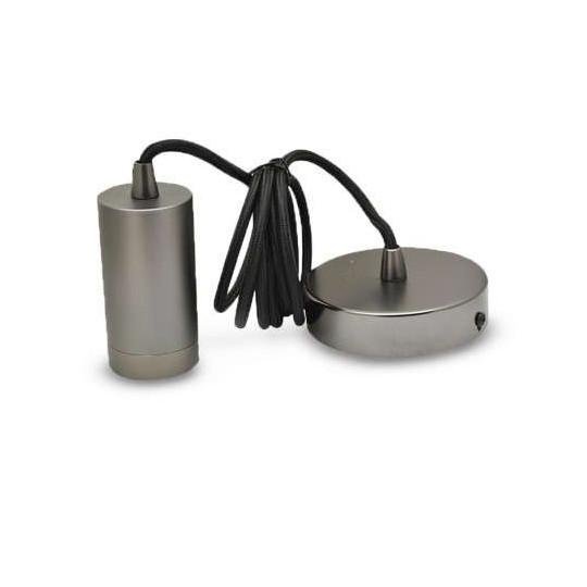 Suspension Métal Cylindrique E27 Perle Noir Mat avec câble 2m