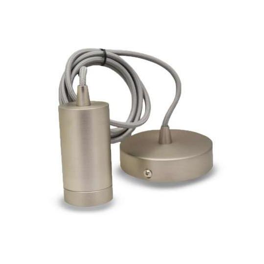 Suspension Métal Cylindrique E27 Mat nickel avec câble 2m