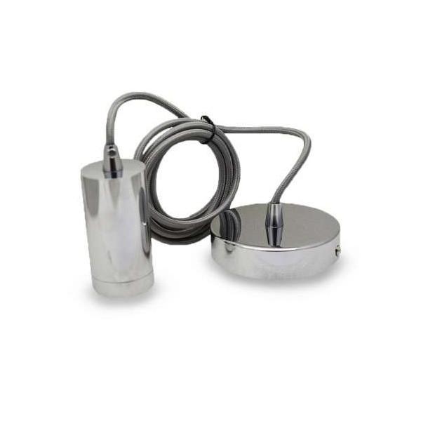 Suspension Métal Cylindrique E27 Chrome avec câble 2m