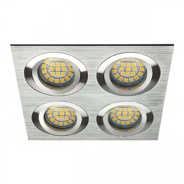 Support encastrable rectangulaire 4 spots gris clair