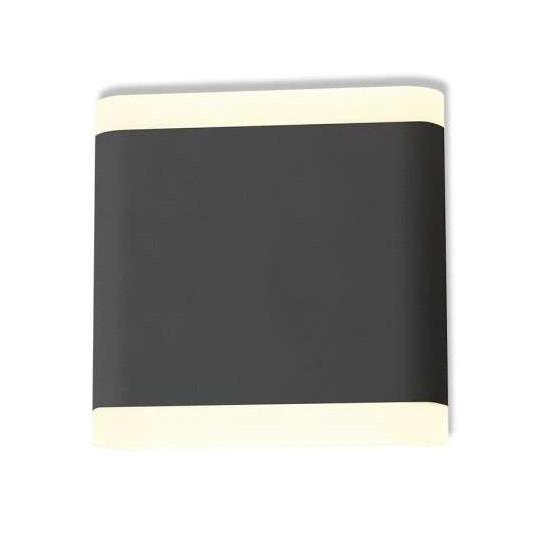 Applique Murale LED 6W Carré Grise IP54 - Blanc Chaud 3000K