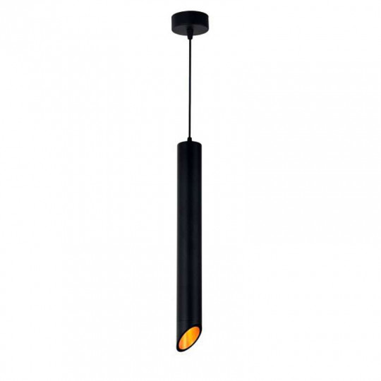 Suspension Moderne GU10 Noire Diffuseur Or H50cm