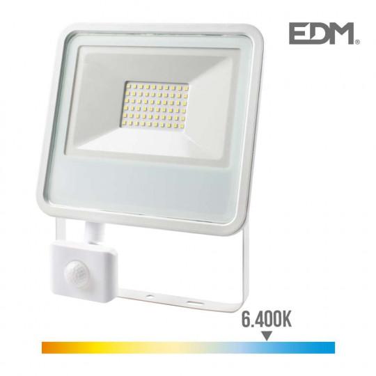 Projecteur LED à Détecteur 50W Blanc étanche IP65 3500lm (400W) - Blanc du Jour 6400K