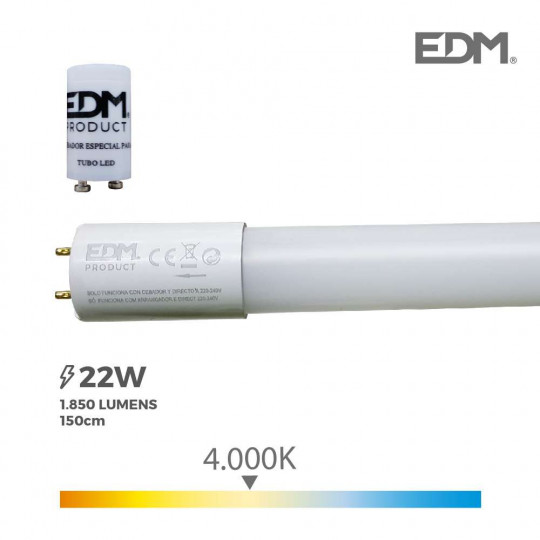 Tube LED T8 150cm 22W 1850lm - Blanc Naturel 4000K