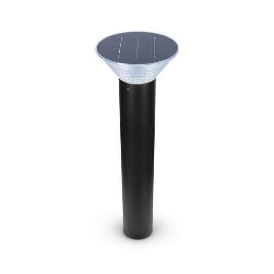 Potelet LED Solaire 4 W Noir 80cm IP65 - Blanc Chaud 3000K