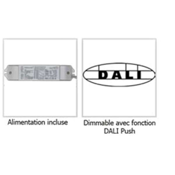 Dalle LED 40W (équivalent 400W) 600*600m Dimmable Dali Push