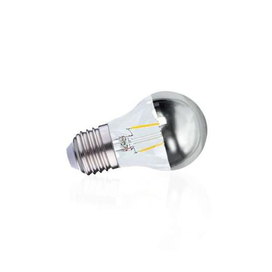 Ampoule LED E27 Filament 4W 410lm G45 Tête Miroir Argent - Blanc Chaud 2700K